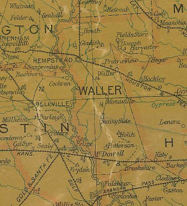Waller County Texas 1907 Postal map