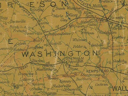 TX Washington County 1907 Postal Map