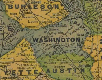 Washington County Texas 1940s map