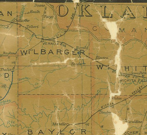 TX Wilbarger County 1907 Postal Map