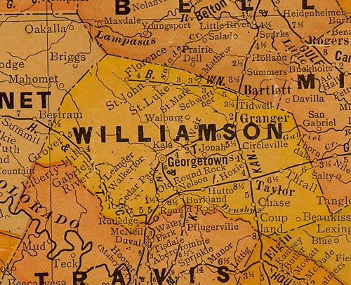 TX Williamson  County 1920s Map