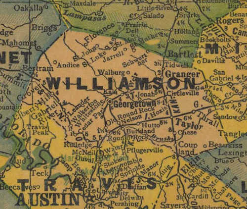 TX Williamson County 1940s Map