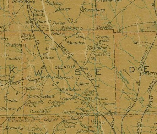 TX Wise County 1907 Postal Map