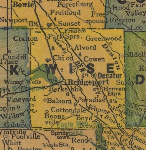 TX Wise County 1940s Map