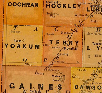 TX Yoakum & Terry County 1920s map