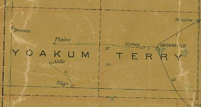 TX Yoakum County 1907 Postal Map