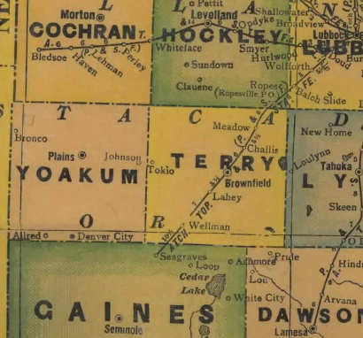 TX Yoakum & Terry  County 1940s Map