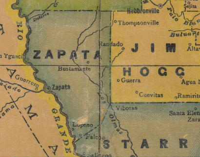 TX - Zapata County 1940s Map