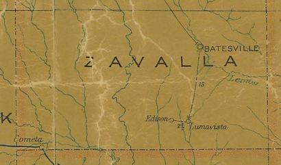 Zavalla County TX 1907 Postal Map