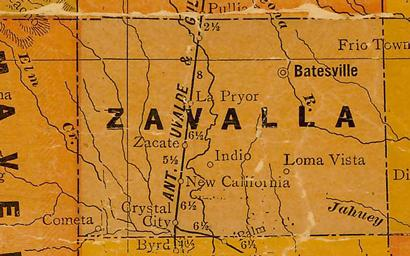 Zavalla County TX 1920s Map