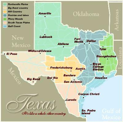 Austin, Dallas & Houston are main cities in Texas Texas Regional Map