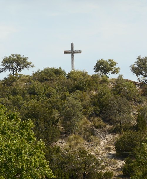 Fredericksburg TX looking up at Cross Mountain