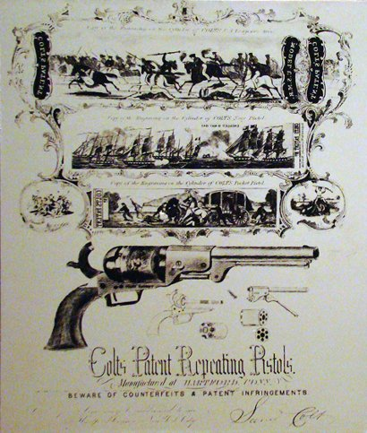 Patent Drawing Colt 45 Revolver - Rockport TX Maritime Museum.