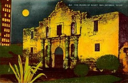 Alamo by night, San Antonio, Texas