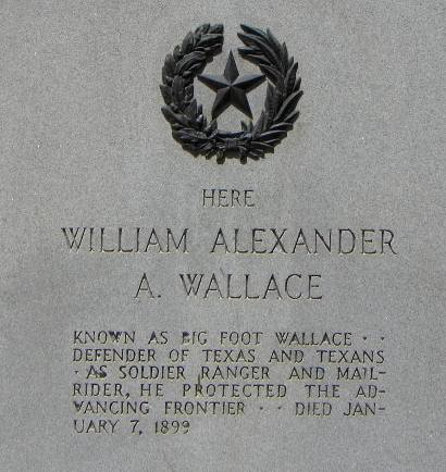 TX Big Foot Wallace centennial marker