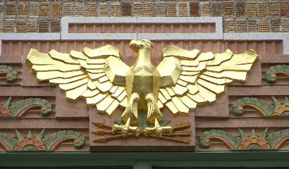 Cotulla TX - Restored La Salle County Courthouse gilded terra cotta eagles