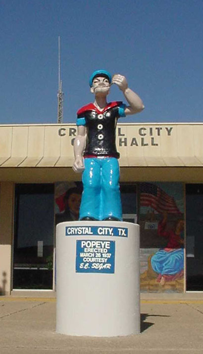 Statue of Popeye in Crystal City, Texas