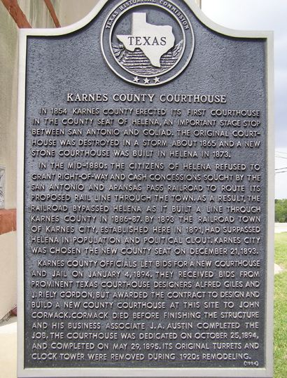 Karnes County courthouse historical marker, Karnes City Texas