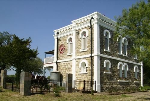 Restored former Live Oak county jail building, Oakville, Texas