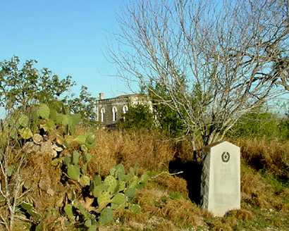 Oakville Texas marker, cactus and jail