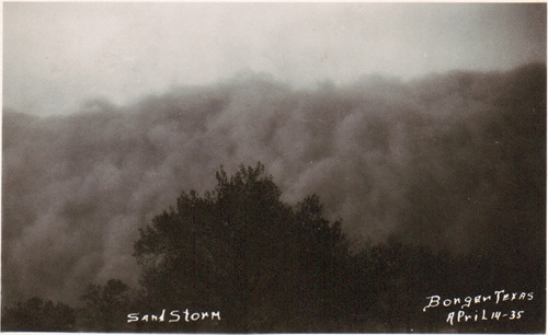 Sand storm in Borger, Texas, 1935