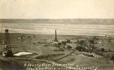 Canadian river and oil wells, Canadian, Texas 1920s