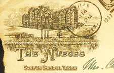 Nueces Hotel - Nueces Hotel Stationery, Corpus Christi Texas. - Nueces Hotel stationery, Corpus Christi, Texas old post card images.