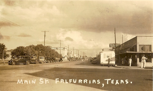 Falfurrias Texas Main Street 1940 Post Card