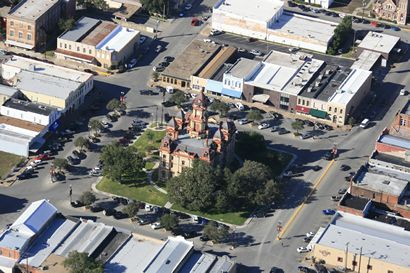 Lockhart Texas Courthouse Aerial Photo