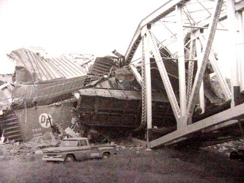 Train wrecks in La Grange, Fayette County, Texas