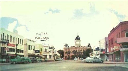 Courthouse Hotel Paisano And Main Street In Marfa Texas 1950s