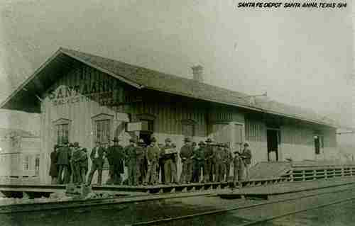 Santa Anna Texas Santa Fe Depot with passengers , old photo