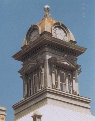 Sherwood TX - 1901 Irion CountyCourthouseClockTower with painted clock face