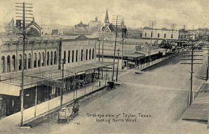 Taylor Texas Street Scene Birds Eye View Old Photo