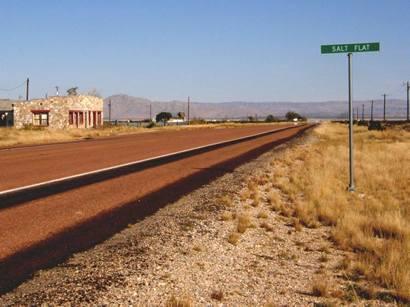 Salt Flat Texas West road sign