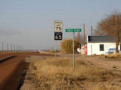 Salt Flat TX Speed Limit Sign