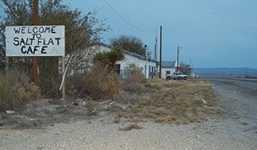 Salt Flat Cafe welcome sign