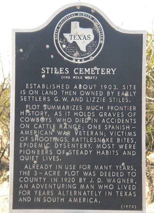 Reagan County TX - Stiles Cemetery historical marker