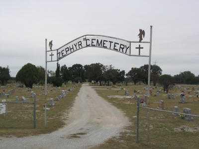 Zephyr Cemetery gate Texas