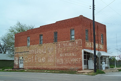 Zephyr, Texas store with ghost sign