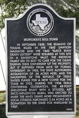 Monument Hill Tx Tomb Historical Marker