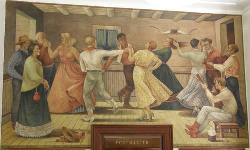 Anson, Texas post office mural  Cowboy  Dance, by Jenne Magafan, 1941