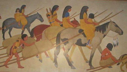 Caldwell TX PO Mural - Indians Moving close up