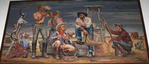Cooper TX post office mural – Before the Fencing of Delta County by Lloyd Goff, 1941
