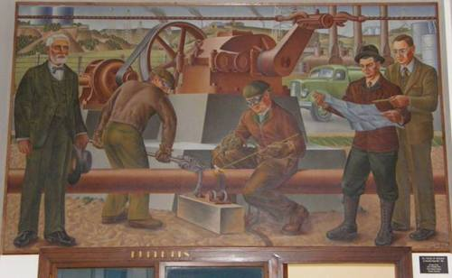 Graham, Texas Post Office Mural Oil Fields Of Graham by Alexandre Hogue