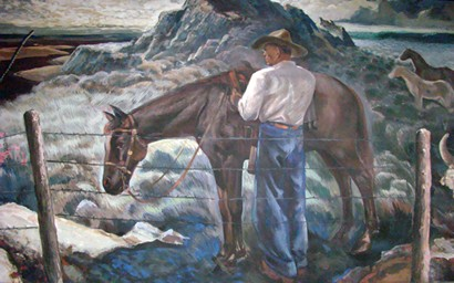 Mission TX Post Office Mural: West Texas Landscape  detail  of man with horse by barbed wire fence