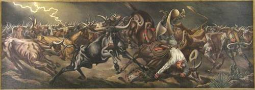 Odessa Tx Post Office  Mural Stampede by Tom Lea, 1940