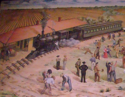Robstown Railroad depot and train, Robstown PO painted mural detail