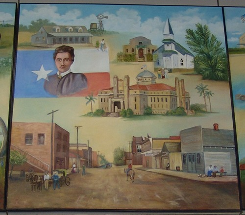 Alice TX Post Office Mural: South Texas Panarama  detail: main street, homestead, courthouse, churches