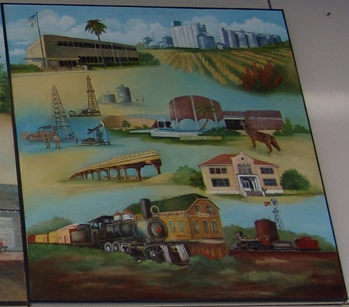 Alice TX Post Office Mural: South Texas Panarama  details: grain elevators, oil derricks, train and depot